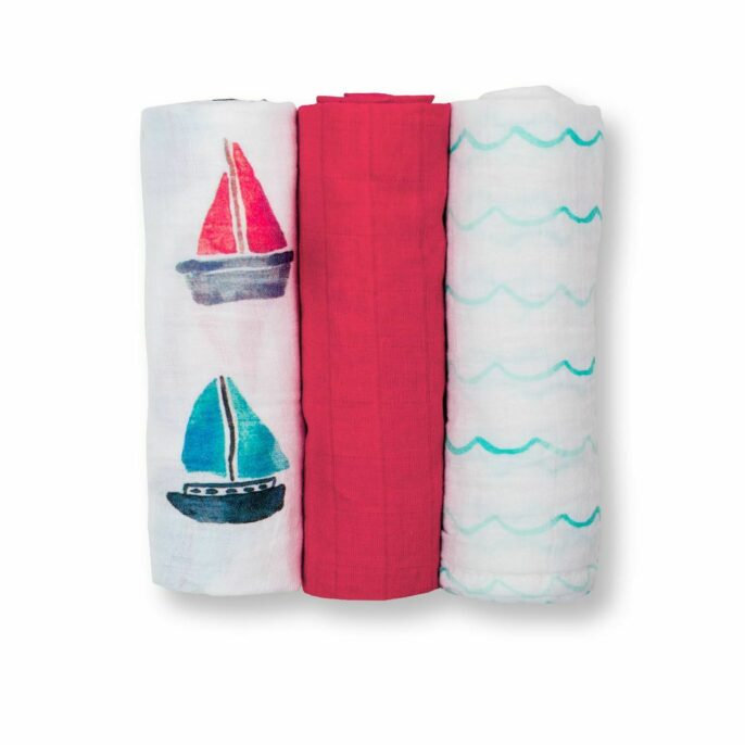 Lulujo Cotton Muslin Cloth - Sailboats - 3 Pack